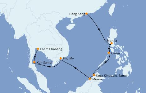 Itinerario del crucero Asia 11 días a bordo del Norwegian Sun