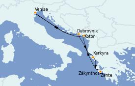 Itinerario de crucero Grecia y Adriático 8 días a bordo del Celebrity Infinity