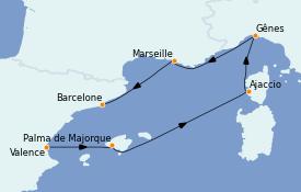 Itinerario de crucero Mediterráneo 6 días a bordo del MSC Splendida