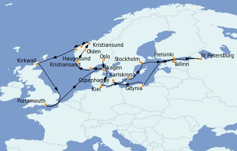 Itinerario del crucero Mar Báltico 22 días a bordo del Marina