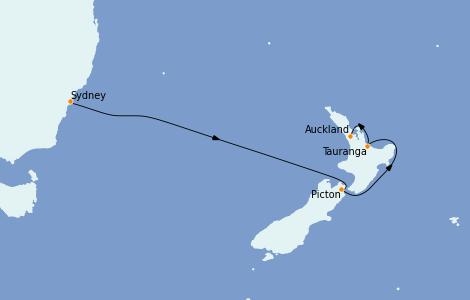 Itinerario del crucero Australia 2023 7 días a bordo del Majestic Princess