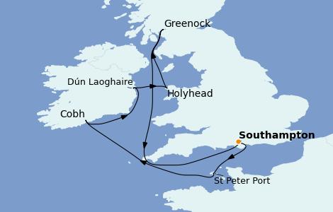 Itinerario del crucero Islas Británicas 8 días a bordo del Emerald Princess