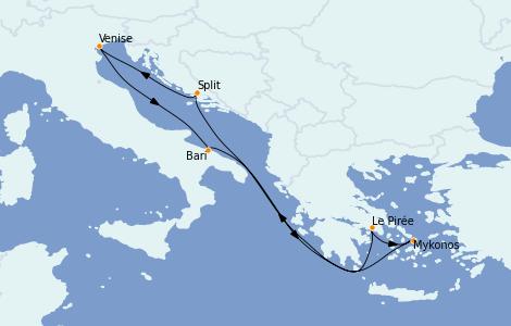 Itinerario del crucero Grecia y Adriático 7 días a bordo del MSC Magnifica