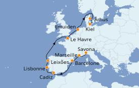 Itinerario de crucero Mediterráneo 13 días a bordo del Costa Favolosa