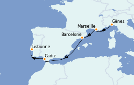 Itinerario de crucero Mediterráneo 6 días a bordo del MSC Seaside