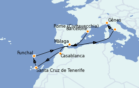 Itinerario de crucero Mediterráneo 11 días a bordo del MSC Splendida