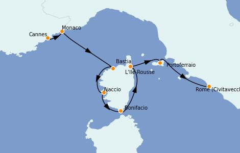 Itinerario del crucero Mediterráneo 7 días a bordo del Star Clipper