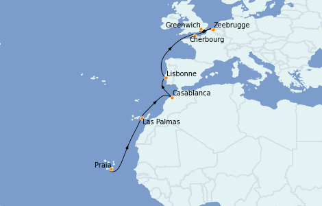 Itinerario del crucero Islas Canarias 12 días a bordo del Seabourn Venture