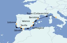 Itinerario de crucero Mediterráneo 12 días a bordo del Azamara Pursuit