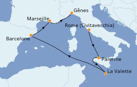 Itinerario de crucero Mediterráneo 7 días a bordo del MSC Virtuosa