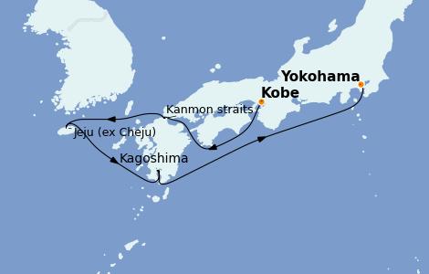 Itinerario del crucero Asia 5 días a bordo del Diamond Princess