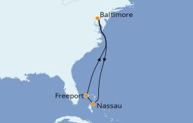 Itinerario de crucero Bahamas 7 días a bordo del Carnival Legend