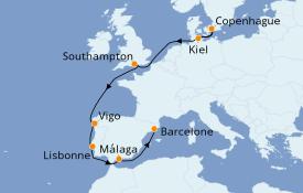 Itinerario de crucero Mediterráneo 10 días a bordo del MSC Splendida