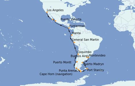 Itinerario del crucero Suramérica 32 días a bordo del Sapphire Princess