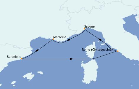 Itinerario del crucero Mediterráneo 5 días a bordo del Costa Smeralda