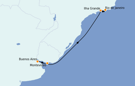 Itinerario del crucero Suramérica 7 días a bordo del Seabourn Venture