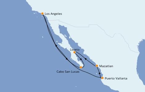 Itinerario del crucero Riviera Mexicana 10 días a bordo del Majestic Princess
