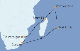 Itinerario de crucero Océano Índico 15 días a bordo del MSC Musica