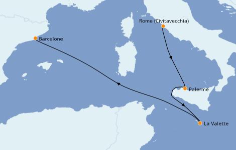 Itinerario del crucero Mediterráneo 4 días a bordo del MSC Grandiosa