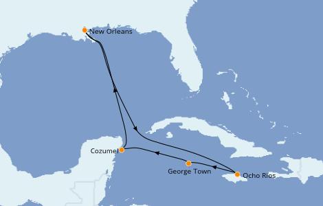 Itinerario del crucero Caribe del Oeste 7 días a bordo del Carnival Glory