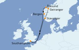 Itinerario de crucero Fiordos y Noruega 8 días a bordo del Celebrity Apex