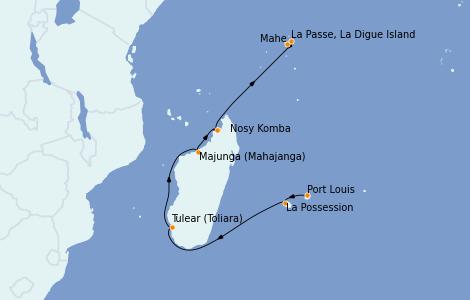 Itinerario del crucero Océano Índico 15 días a bordo del Le Jacques Cartier