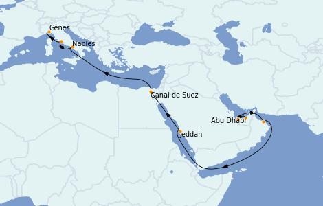 Itinerario del crucero Trasatlántico y Grande Viaje 2023 16 días a bordo del MSC World Europa
