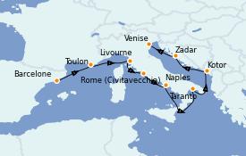Itinerario de crucero Mediterráneo 11 días a bordo del Celebrity Constellation