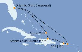 Itinerario de crucero Caribe del Este 9 días a bordo del Carnival Mardi Gras
