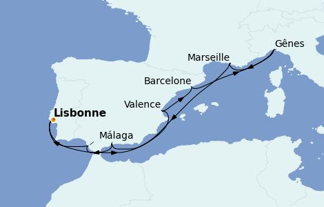 Itinerario del crucero Mediterráneo 9 días a bordo del MSC Fantasia