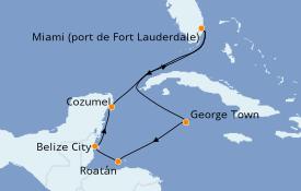 Itinerario de crucero Caribe del Oeste 8 días a bordo del Caribbean Princess