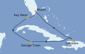 Itinerario de crucero Caribe del Oeste 8 días a bordo del Empress of the Seas