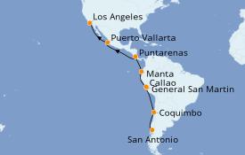 Itinerario de crucero Riviera Mexicana 18 días a bordo del Diamond Princess