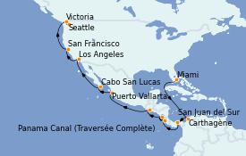 Itinerario de crucero Riviera Mexicana 22 días a bordo del Norwegian Encore