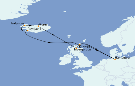 Itinerario del crucero Exploración polar 11 días a bordo del MSC Orchestra