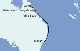 Itinerario de crucero Australia 2021 9 días a bordo del Carnival Splendor