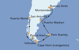 Itinerario de crucero Suramérica 15 días a bordo del Diamond Princess