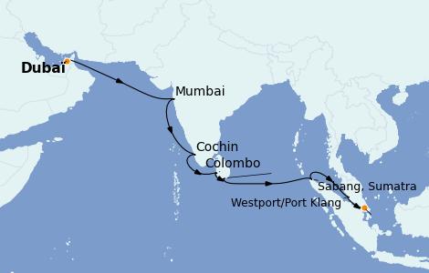 Itinerario del crucero Maldivas 15 días a bordo del Azamara Journey