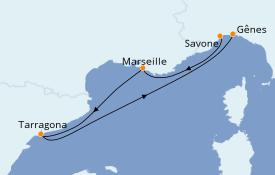 Itinerario de crucero Mediterráneo 4 días a bordo del Costa Fortuna