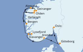 Itinerario de crucero Fiordos y Noruega 8 días a bordo del Le Dumont d'Urville
