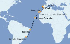 Itinerario de crucero Trasatlántico y Grande Viaje 2021 15 días a bordo del Norwegian Star