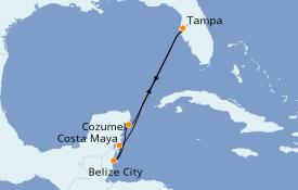 Itinerario de crucero Caribe del Oeste 7 días a bordo del Carnival Paradise