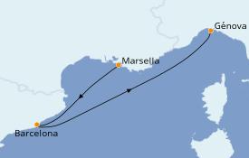 Itinerario de crucero Mediterráneo 3 días a bordo del MSC Divina
