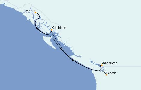 Itinerario del crucero Alaska 5 días a bordo del Crown Princess