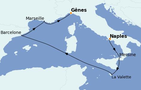 Itinerario del crucero Mediterráneo 6 días a bordo del MSC Seaview