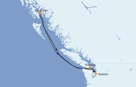 Itinerario del crucero Alaska 5 días a bordo del Norwegian Sun