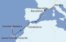 Itinerario de crucero Mediterráneo 8 días a bordo del MSC Poesia