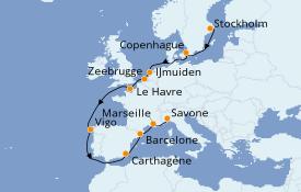 Itinerario de crucero Mediterráneo 15 días a bordo del Costa Fortuna