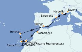 Itinerario de crucero Mediterráneo 13 días a bordo del Costa Magica