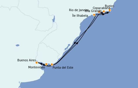 Itinerario del crucero Suramérica 10 días a bordo del MSC Orchestra